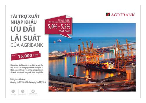 Agribank dành 15.000 tỷ đồng cho vay hỗ trợ xuất nhập khẩu
