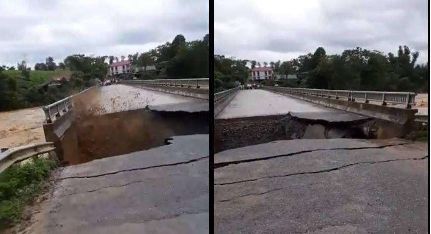 Lũ cuốn phăng mố cầu bê tông ở Phú Thọ, hố tử thần nuốt trọn đầu cầu