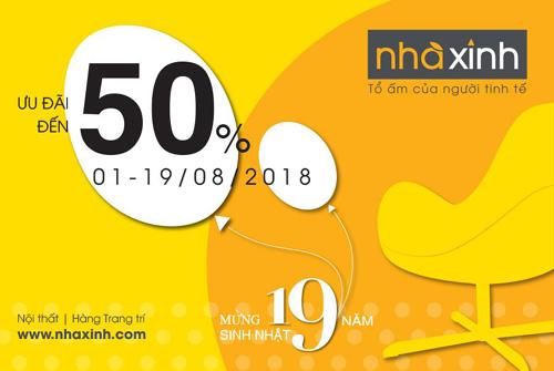 Nhà Xinh ưu đãi đến 50% dịp sinh nhật