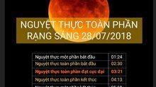 Lịch trình chi tiết của hiện tượng nguyệt thực rạng sáng 28/7