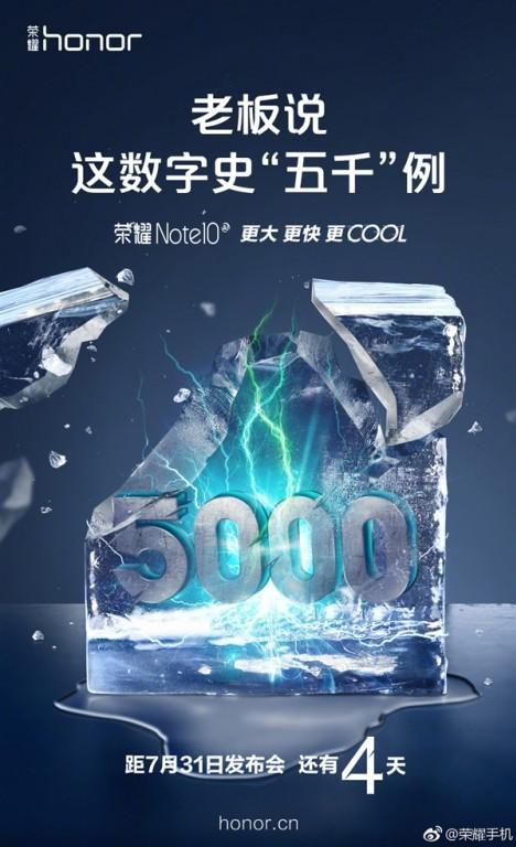 Honor Note 10 lộ cấu hình gây sốc với pin 5.000 mAh