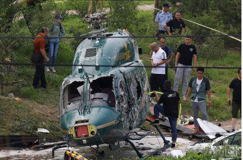 Trực thăng cắm đầu xuống đất ở Bắc Kinh
