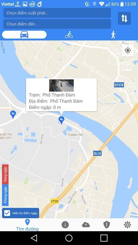 Ứng dụng giúp cảnh báo điểm bị ngập lụt tại Hà Nội, TP.HCM