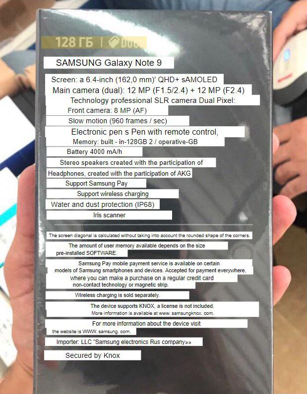 Galaxy Note 9 lộ tất cả thông số kỹ thuật trước ngày ra mắt