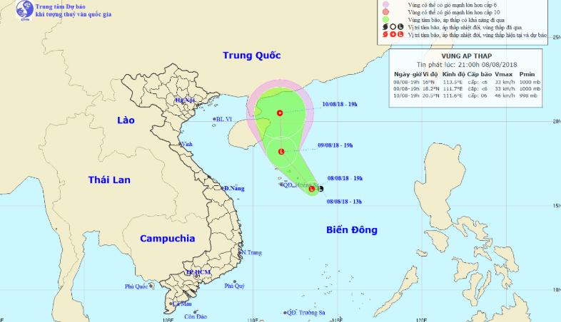 Dự báo thời tiết 9/8: Vùng áp thấp có thể mạnh thành áp thấp nhiệt đới