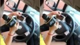Rùng mình cô gái vừa lái xe vừa hát karaoke