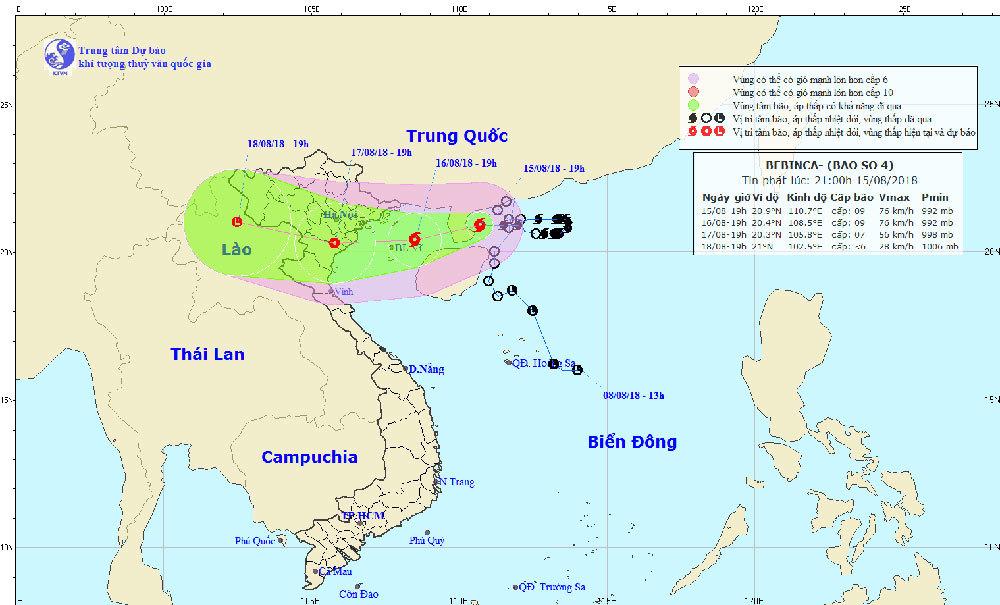 Dự báo thời tiết 16/8: Bão Bebinca giật cấp 11 đi vào vịnh Bắc Bộ