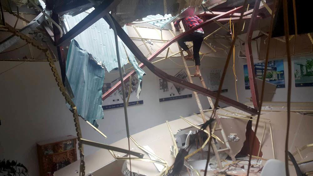 Hiện trường nhà điều hành sau vụ đứt cáp