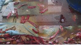 Ớn lạnh chế biến ớt xuất khẩu trong hồ đầy côn trùng chết và phân súc vật