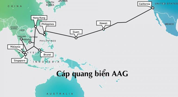 Internet,Cáp quang biển,Đứt cáp quang,Cáp quang biển AAG