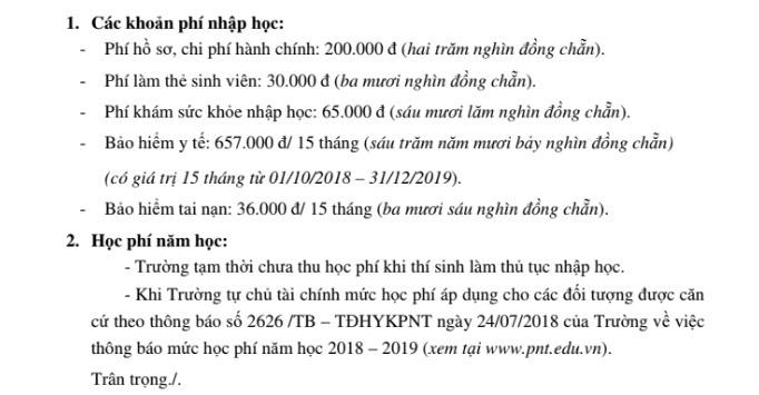 thong bao thu hoc phi dai hoc y khoa pham ngoc thach