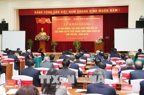 Khai giảng lớp bồi dưỡng kiến thức cho các ủy viên Trung ương