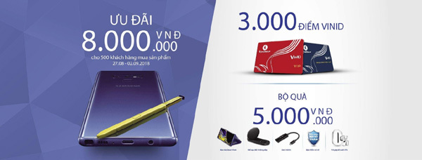 Ưu đãi 8 triệu cho khách hàng mua Samsung Galaxy Note9