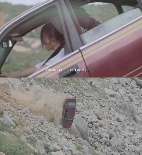 Khả Ngân khóc thét khi ô tô sắp lao xuống vực trong 'Hậu duệ mặt trời'