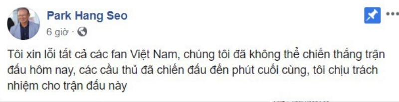 Bị dư luận 'ném đá', HLV Park Hang Seo lên tiếng về Facebook giả mạo