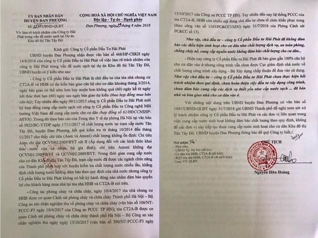 Hải Phát,Tân Tây Đô,nước sạch,phong trào căng băng rôn,tranh chấp chung cư