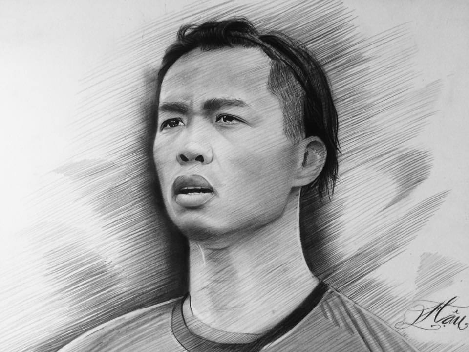 U23 Việt Nam cực đẹp trai qua tranh chì của nam sinh Sài Gòn