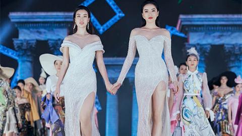 Đỗ Mỹ Linh nắm tay Kỳ Duyên catwalk ở Hoa hậu Việt Nam 2018