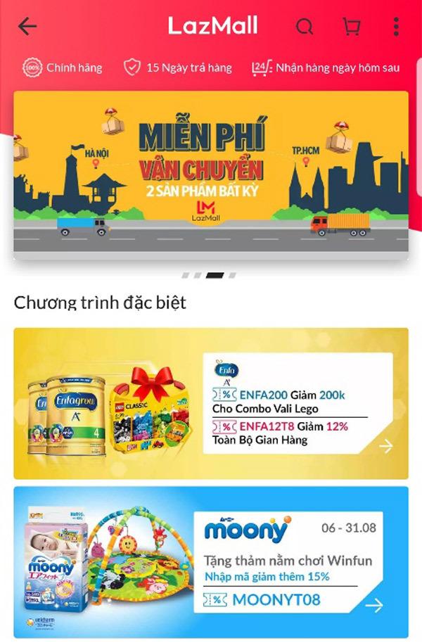 LazMall- kênh mua sắm online mới quy tụ gần 300 thương hiệu