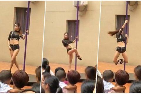 Nực cười trường mầm non mời vũ công múa cột biểu diễn trong lễ khai giảng