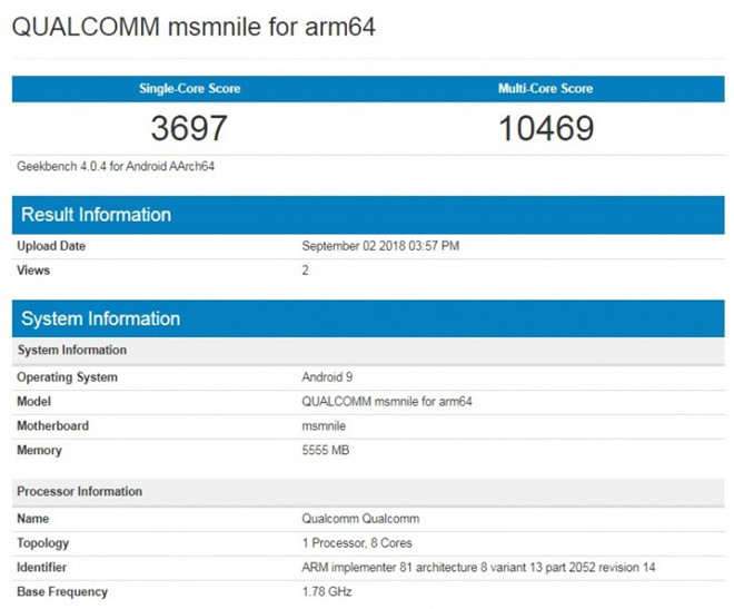 Chip Snapdragon 855 lộ điểm hiệu năng bằng với Apple A11