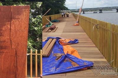 Tiết lộ động trời vụ đường lát gỗ lim siêu sang chưa xong đã nứt