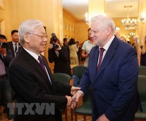 Tổng bí thư tiếp Chủ tịch Đảng nước Nga công bằng