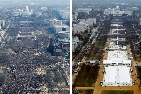 so sánh lễ tuyên thệ nhậm chức của Obama năm 2009 và Trump năm 2017