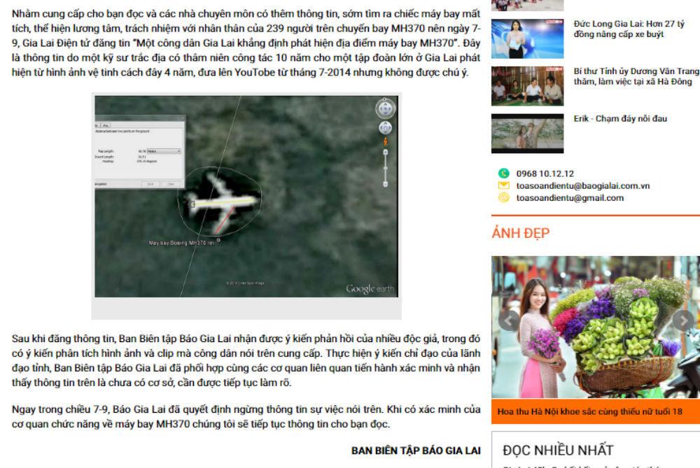 Thông tin phát hiện máy bay MH370: Chờ Tỉnh ủy Gia Lai kết luận