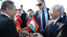 Lễ đón Tổng bí thư Nguyễn Phú Trọng tại sân bay Hungary