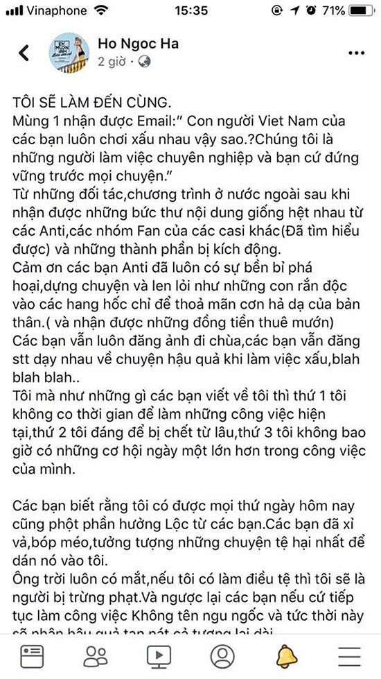 Hồ Ngọc Hà sẽ kiện anti-fan vì bị bôi nhọ danh dự?