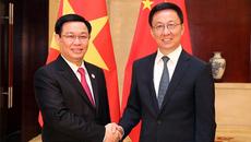 Phó Thủ tướng Vương Đình Huệ hội đàm với Phó Thủ tướng Trung Quốc