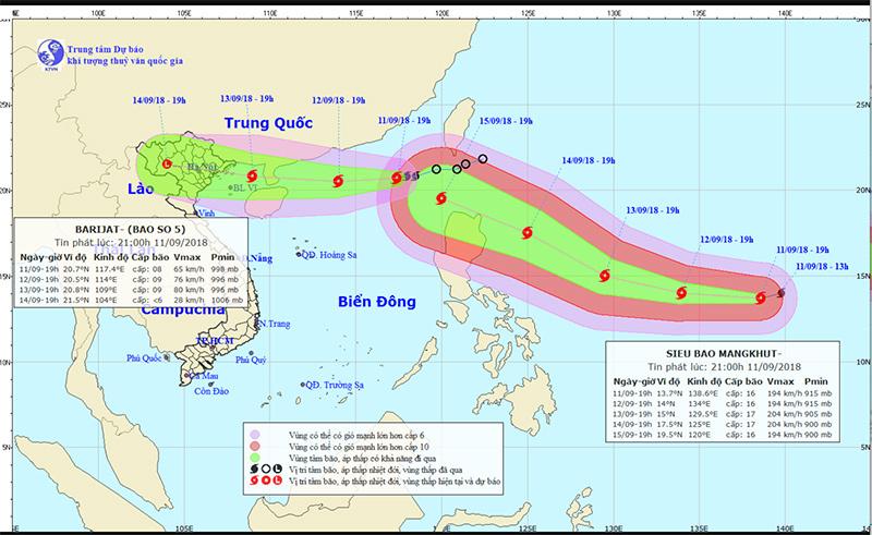Dự báo thời tiết 12/9: Bão số 5 mạnh lên, nín thở chờ siêu bão Mangkhut