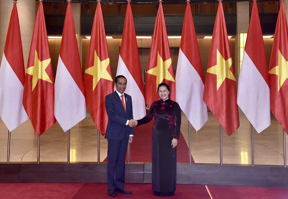 Tổng bí thư, Chủ tịch QH tiếp Tổng thống Indonesia