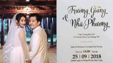 Cận cảnh thiệp cưới cùng ngày giờ hôn lễ của Nhã Phương - Trường Giang