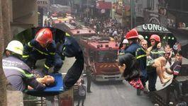 Cứu 2 cụ già mắc kẹt trong đám cháy ở phố đi bộ Bùi Viện
