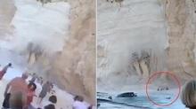 Sập vách đá trên bãi biển, du khách chạy tán loạn