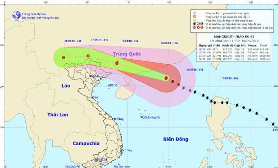 Đường đi và vị trí bão Mangkhut