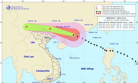 Đường đi và vị trí cơn bão Mangkhut
