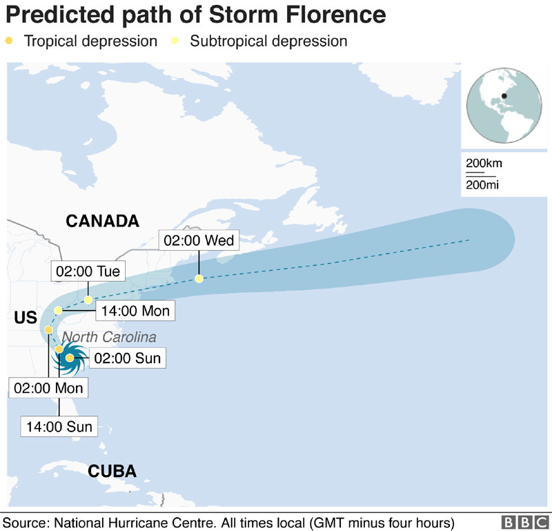 Bão Florence đổi hướng, Mỹ đối mặt 'điều tồi tệ nhất'