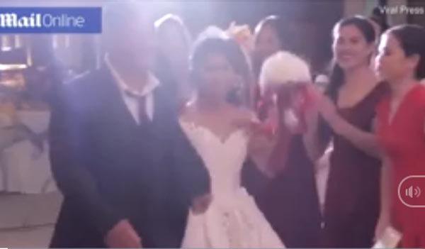Quang cảnh lễ cưới như phim kinh dị vì bão đổ bộ
