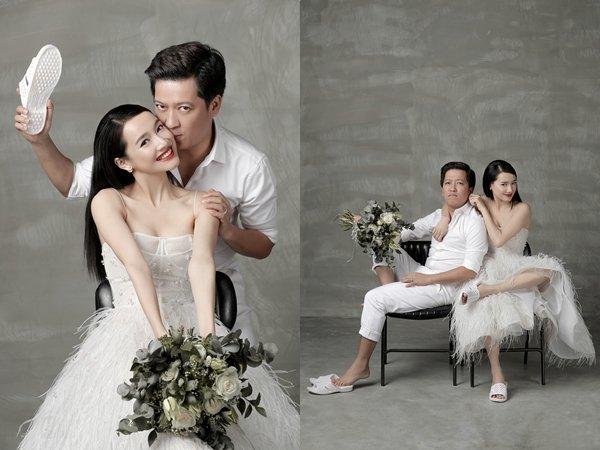 Nhã Phương mặc váy cưới gợi cảm trong hôn lễ với Trường Giang