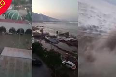 Khoảnh khắc kinh hoàng sóng thần ập vào thành phố biển Indonesia