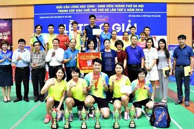 Kết thúc giải cầu lông HSSV Hà Nội 2018