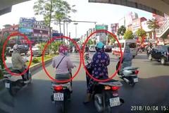 3 ninja dừng đèn đỏ kết hợp tránh nắng, tài xế ô tô sốt ruột bóp còi
