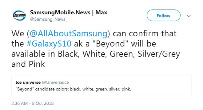 Xác nhận Galaxy S10 sẽ có 5 tùy chọn màu siêu 'hot'