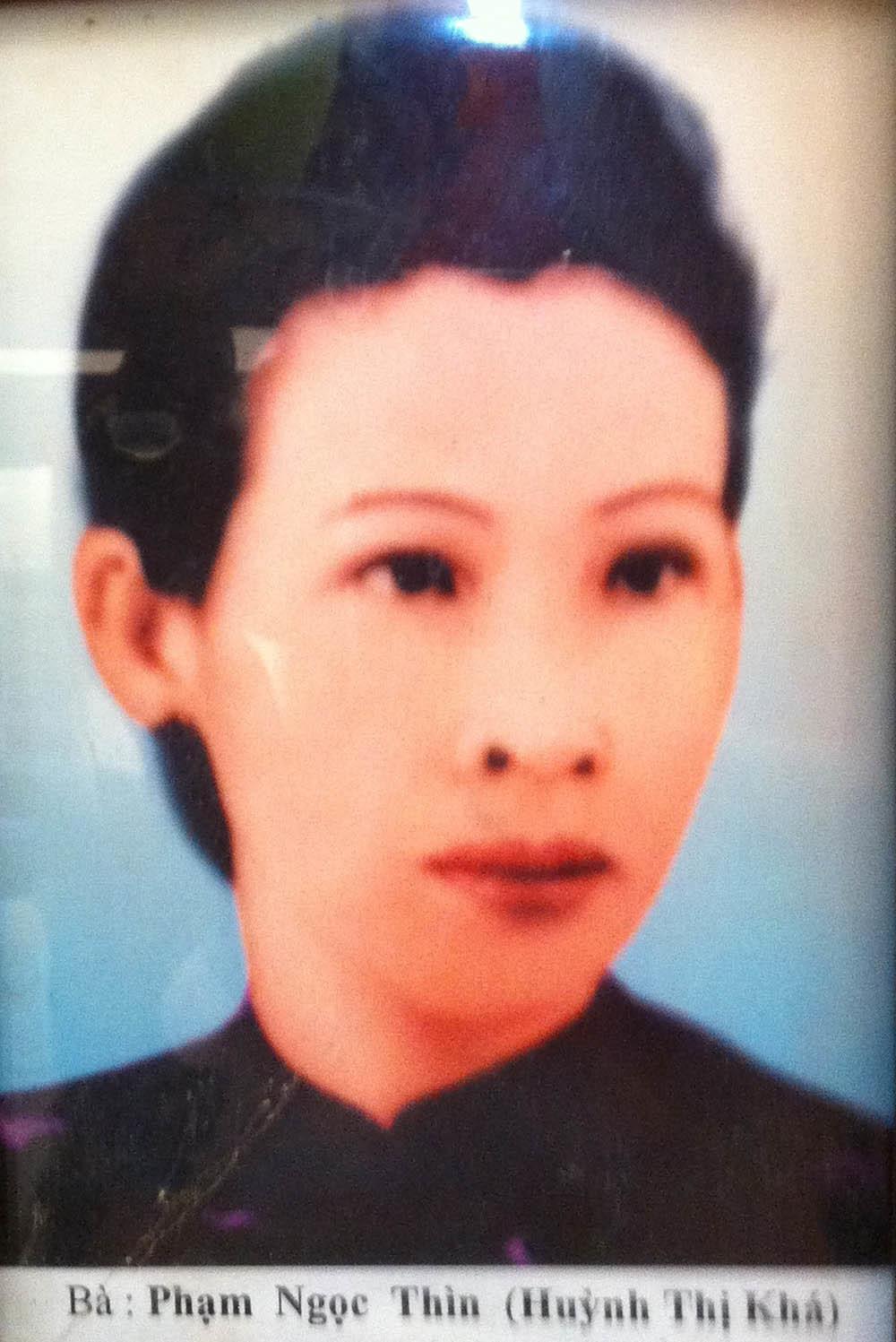 Bà Huỳnh Thị Khá (tức tài tử Quỳnh Khanh), vợ ông Phạm Ngọc Thìn.