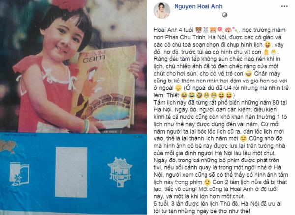 Sao Việt ngày 12/10: Danh tính bé gái trên tờ lịch của Hà Nội năm 1980 là BTV Hoài Anh