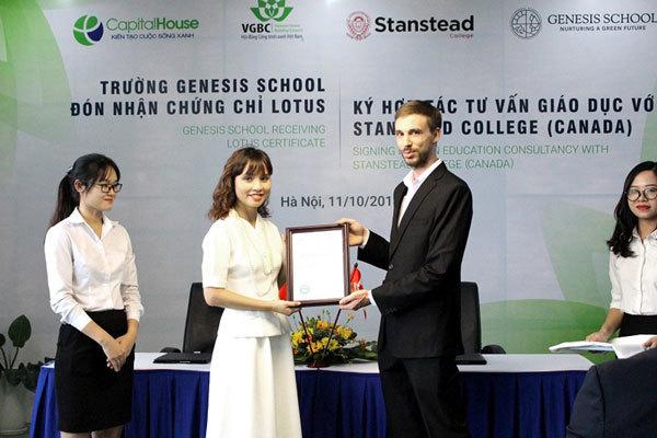 Capital House nhận chứng chỉ xanh LOTUS cho Genesis School