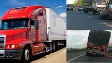 Nguy hiểm khó lường khi tài xế để cự ly quá ngắn với xe container, xe tải